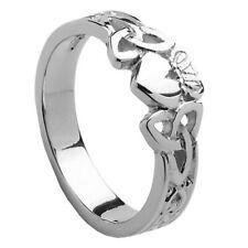 NEW Ladies Silver Irish Celtic Claddagh Trinity Knot Shank Ring Size N Jewellery