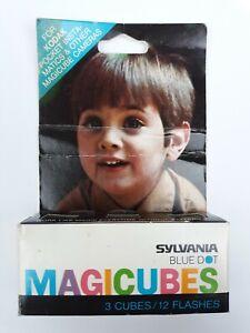 NOS Vtg Sylvania Magic Cubes Blue Dot MAGICUBES Pack of 3 Camera Flash