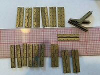 """New old stock small Brass Hinges Lot of 19 delicate fine double walls 1.5""""-.5"""""""
