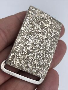 Vintage Beautiful Sterling Silver Detailed Belt Buckle