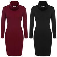 Women's Cowl Neck Knit Casual Work Sweater Dress Long Sleeve M L XL XXL 4 Colors