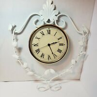Scrolled Wrought Iron Wall Clock Leaves Vines Roman Numerals  VTG