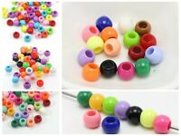 Craft DIY Mixed Bubblegum Color Acrylic Round Pony Beads 8mm-12mm for Kids Craft