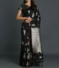 Stylish-Toned Silk Blend Solid Kanjeevaram Saree [ Black & Silver]