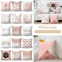Pink Polyester Sofa Throw Pillow Case Cushion Cover Car Waist Home Decoration SH