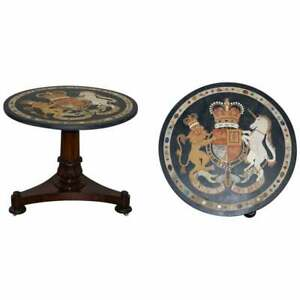 PIETRA DURA SPECIMEN MARBLE CENTRE TABLE COAT OF ARMS WILLIAM IV ROSEWOOD BASE
