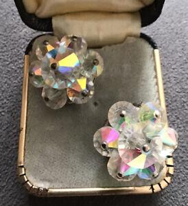 Vintage Fine Jewellery -Beautiful Aurora Borealis Crystal Clip Earrings 1950s