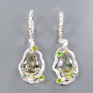 25 ct+ IF gem Green Amethyst Earrings Silver 925 Sterling   /E58032