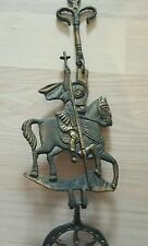 Antique 1900 austrian Georges Dragon cast forged brass wall hang candle cross