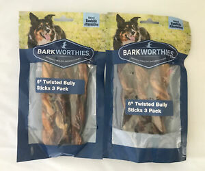 2 Barkworthies 6-inch 3 Pack Bully Sticks (6 Total) All-Natural Dog Chews