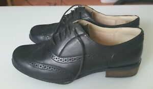 Clarks black leather lace up brogues - ladies size uk4.5 eu37.5 us7 - worn once