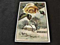 Wonderful Christmas Greeting in Village -Victorian Ephemera 1800s Trade Card.