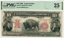 1901 $10 Dollar Buffalo Bison Large Size Legal Tender - PMG 25