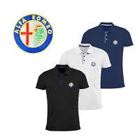 Uomo Alfa Romeo Maglietta Polo Slim Fit RICAMATO Auto Logo Camicia T Shirt Tee