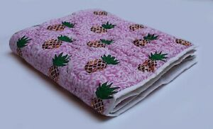 Indian Pink Pineapple Hand Block Print Baby Quilt Cotton Filled Cotton Coverlet