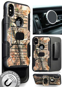 CAMO TREE WOODS CASE + BELT CLIP HOLSTER + MAGNETIC CAR MOUNT FOR APPLE iPHONE X
