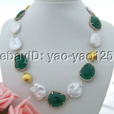 "H093006 20""  White Keshi Pearl Green Crystal Necklace"