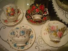Set of 4 Vintage Pink Roses Victoria Tea cup/Saucers English fine bone china