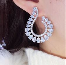 2.80Ct Pear Cut VVS1/D Diamond Cluster Stud Earrings Solid 14K White Gold Finish
