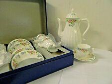 Royal Worcester English Garden Teapot w/ 6 Demitasse Cups & Saucers New