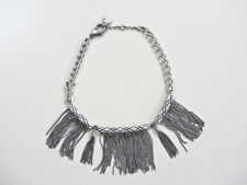 "Jessica Simpson 18"" Silver Tone Necklace with Dangling Chains & Tassels"