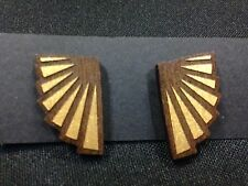 Gold Walnut Wood Stud Earrings Wings Jewelery