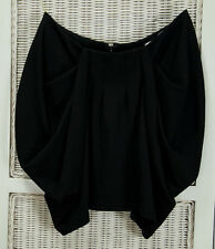 "LIPSY LONDON Mini Skirt UK12L 28""W Black Dipped Hem Stretch Short Skirt 14.5""L"