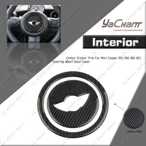Carbon Sticker Trim Steering Wheel Decal Cover For Mini Cooper R55 R56 R60 R61