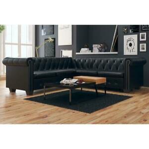 Artificial Leather Corner Lounge Couch Seat Chair Sofa Suite - 5 Seater - Black