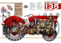 Vintage Massey Ferguson Tractor 135 150 165 Poster Brochure Leaflet A3 VERY RARE