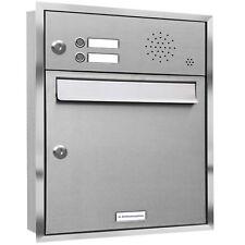 1er Premium Unterputz Briefkasten mit 2 Klingel 1 Fach V2A Postkasten Anlage A4