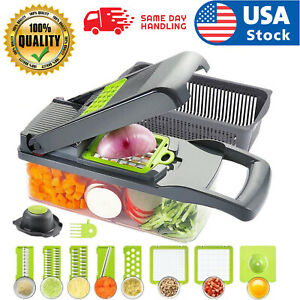 USA 12 in 1 Vegetable Chopper Spiralizer Mandolin Slicer Grater with Container