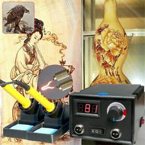 220V Pyrography Dual Wood Burner 2 Pen Burning Machine Gourd Crafts Tool Set UK