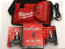 "Milwaukee 2554-22 M12 FUEL Stubby Cordless 3/8"" Drive Impact Wrench (2) 6.0 KIT"