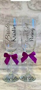 Personalised Wedding Bridal Party Hen Party Prom Rose Gold Champagne Flute Glass
