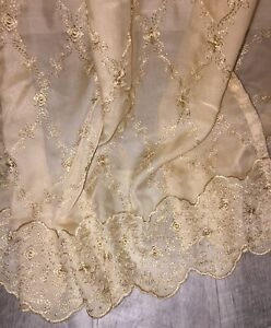 """Pair of 2 Sheer Embroidered Window Curtain Panels 50"""" x 84"""" each Gold Beige Set"""