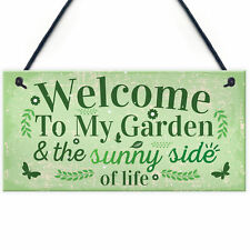 Welcome To My Garden Plaque Outdoor Shed Sign Novelty Chic Decor Friendship Gift