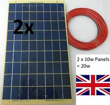 20w (2 x 10w) Solar Panel 12v 24v Light Weight c/w Block Diode + 8m cable 2 x 4m