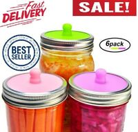 6-Pack Waterless Airlock Fermentation Lids For Wide Mouth Mason Jars, Mold Free,