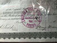 * 1897 Quincy Mining Company of Michigan Stock Certificate
