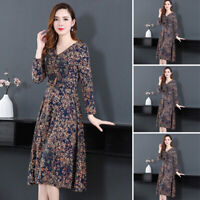 Women's Long Sleeve V-neck Floral Printed Plus Size Evening A Line Maxi Dress