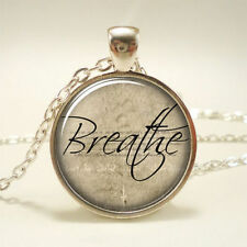 Breathe Necklace, Inspirational Word Pendant, Motivational Quote jewelry