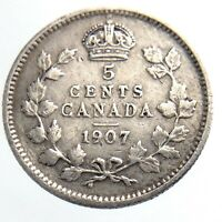 1907 Canada 5 Cents Small Silver Circulated Canadian Edward VII Five Coin P045