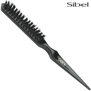 Sibel 78 Long Black BOAR BRISTLE Backcombing Hair Brush Professional Teasing