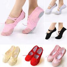 Womens Girls Ballet Shoes Dance Split-Sole Fashion Canvas Gymnastic Slipper Shoe