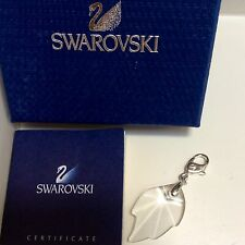 GENUINE SWAROVSKI® CRYSTAL CHARM W/ SIGNED LOBSTER CLASP~ CLEAR LEAF
