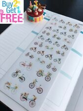PP349 -- Small Floral Bicycles Life Planner Stickers for Erin Condren