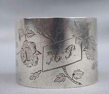 French Art Nouveau Engraved Sterling Silver Napkin Ring AP Mono Rose Paris 1900