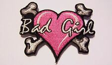 #0032 XS Motorcycle Vest Patch BAD GIRL HEART & CROSS BONES lady rider / biker