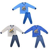 Boys Kids Pyjamas Long Sleeve Top Bottom Set Winter Warm Fleece Cotton Brushed